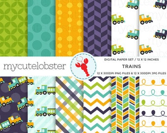 Trains Digital Paper Pack - assorted paper set, trains, chevron, polka, stripe - personal use, small commercial use, instant download