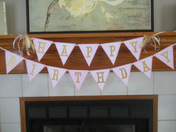 Gold and Pink Glitter Happy Birthday Banner, Pink and Gold Flag Banner, Sweet 16 Birthday banner, 1st Birthday banner, Birthday Banner
