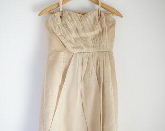 strapless taupe silk linen organdy cocktail bridesmaid dress