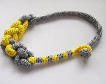 Chunky Rope Statement Necklace _ Knot Macrame Necklace _ Big Shape Pastel Necklace _ Crochet  Rope Choker