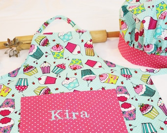Personalized Aqua Cupcakes Youth Apron and Adjustable Chef Hat with pink polka dot accents - made to order