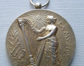 Art Nouveau Music Pendant, Lady With A Harp Antique French 950 Sterling Silver Art Medal Signed Rasumny Dated 1912   SS31