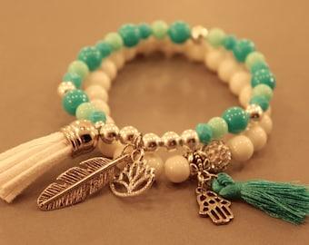 Buddha Bracelet Set: Set of Two Stacking Bracelet Set, Buddha Bracelets, Karma, Hamsa Bracelet, Adjustable, Stretch, Arm Candy, Stacking