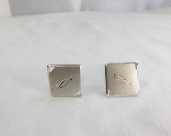 Vintage Silver Tone Mid Century Square Cufflinks