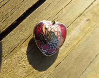 Vintage Tiny Cloisonne Heart Pendant with Butterflies