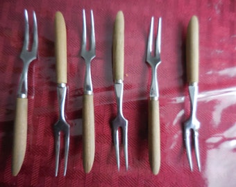 Vintage 1950s to 1960s Stainless Steel Japan Miniature Forks Hors D' Oeuvres Cheese Parties Gatherings Wood Handles Tiny Set of (6) Six