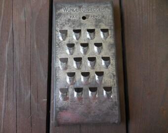 Vintage 1940s Metal Kitchen Utensil The Wonder Shredder/Cutter/Dicer Curved Farmhouse/Country Decor