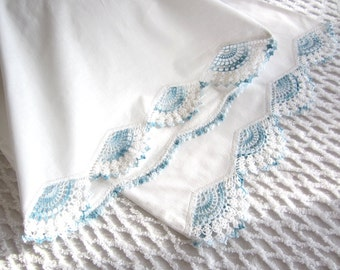 Pair of Hand Crocheted Vintage Standard Pillowcases, Set of Two Varigated French Blue Trim