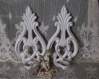 Vintage Metal Candle Sconce Pair, Ornate, shabby, creamy white, distressed, rustic chic