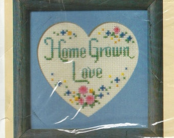 "80s Creative Circle Kit 1695 ""Home Grown Love"" Counted Cross Stitch Kit with Mat UnOpened Kit Sue Miyata Kit Birthday Gift for Her"