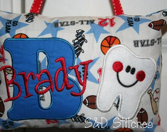 Boys Tooth Fairy Pillow - Personalized - Sports