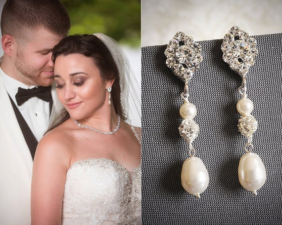 TACIE, Vintage Inspired Oval Rhinestone Wedding Earrings, White, Ivory Swarovski Pearl and Crystal Bridal Dangles, Art Deco Wedding Jewelry