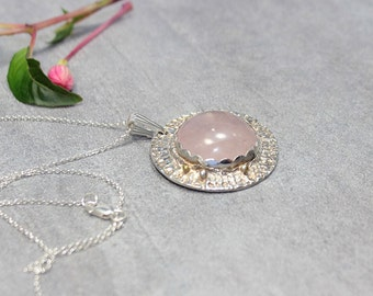 Large Rose Quartz Necklace Ying Yang Pendant Large Silver Pendant.