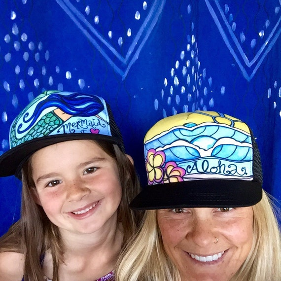Aloha Surf Art Trucker Hat Made in USA with Waves and Hawaiian Plumeria Flowers by Lauren Tannehill  Art