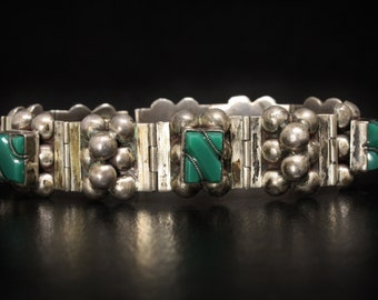 1940s Mexico Green Onyx & Coco Sterling Bracelet Size 7.5