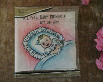 Sweet Vintage New Baby Greeting Card Handkerchief By Hankee Greeting
