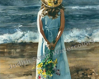 """Beach Girl in Blue Dress & Straw Hat, Flower Bouquet, Children Watercolor Painting Print, Wall Art, Home Decor, """"Beauty Before the Storm"""""""