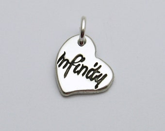 Sterling Silver Infinity Charm, Sterling Silver Heart Charm, Tiny Heart Charm, Tiny Infinity Charm, Infinity Heart, Heart Infinity