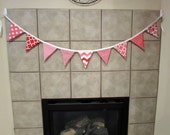 Valentine Sale Bunting Banner, Photo Prop, Nursery Decor, Pink, Red and White in Dots, Stripes, Waves and Floral--7 Feet