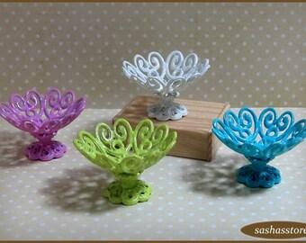 Shabby chic miniature bowl, dollhouse miniature home decor
