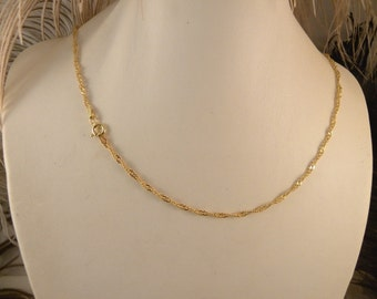 16 inch Gold Plated over Sterling Silver Singapore 2mm Chain