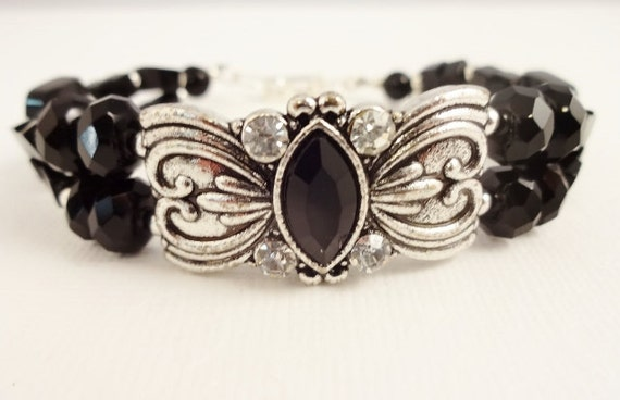 Black Onyx and Silver Two Strand Bracelet