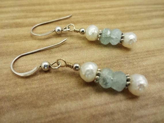 Aquamarine and Pearl Earrings, Aquamarine Earrings, Blue Gemstone Earrings, March Birthstone Jewelry, Birthstone Earrings