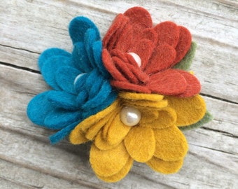 Beautiful Gold Rust Turquoise Wool Felt Fall Flower Trio Newborn, Babies,Toddlers, Girls
