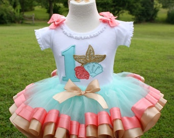 girls 1st birthday under the sea seashells ribbon trim tutu set in coral, champagne, gold and aqua colors