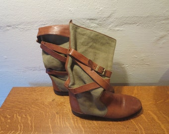 Banana Republic Vintage Safari Boots - Banana Republic Safari Clothing Co Italian Leather Linen Strappy Boots