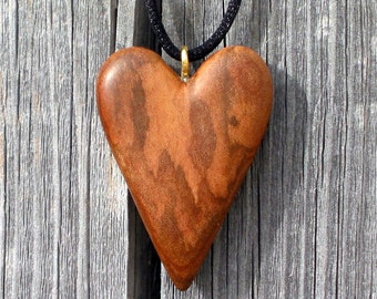 Heart Wood Carving Necklace Pendant Ornament Hand Carved Gift Anniversary Sculpture Hanging Romantic Love Figured Wooden For Sale by Joan