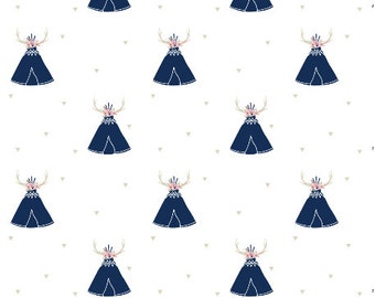 Grace and Cruz EXCLUSIVE Fabrics Design Your Own - Seek Adventure, My Love in Navy + Pink  Floral Antlers with tossed Triangles