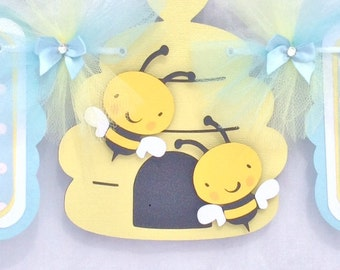 Bee baby shower banner, bee banner, bee boy banner, it's a boy banner, yellow and blue decor, baby shower banner, boy baby shower,