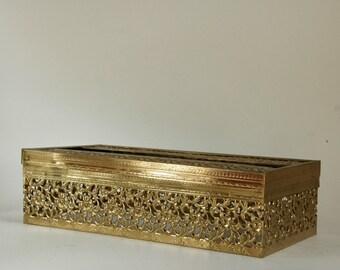 Kleenex Box Cover, Tissue Holder, Hollywood Regency, Gold Filigree