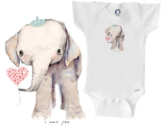 Baby elephant with balloon onesie / bodysuit
