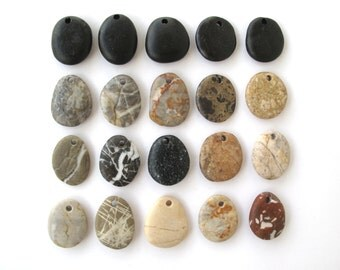 Beach Stone Pendants Mediterranean River Stone Pendants Top Drilled Natural Stones DIY Jewelry Findings Pebble Beads PENDANT LOT 24-27 mm