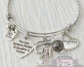 The love between mother and daughter is forever- Mother Daugher Jewelry, Gift, Personalized Bangle Bracelet- Gifts for Women -Birthday Gifts