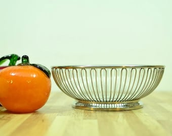 MidCentury Wire Basket Fraser's Cromargan Centerpiece Made in Italy Stainless 18/8