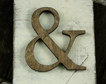 Rustic Ampersand Hanging Wood letter sign- Wall hanging letter READY TO SHIP &
