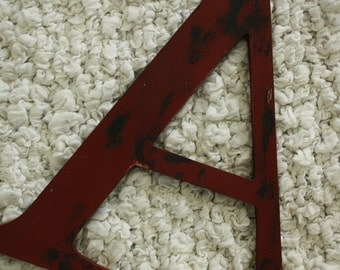 "12"" Distressed red letter A READY TO SHIP letter A"