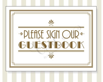 Art Deco Guest Book Printable Sign, 5x7 Printable Wedding Signage, Party Sign