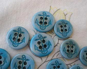 """Blue Clouds Anchor buttons 5/8"""" & 11/16"""" (15mm 17MM) 4-hole sew on dark turquoise buttons 24L 28L sewing crafts clothes Anchor and rope"""