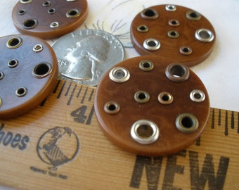 """Steampunk grommet Buttons 27MM 2 hole sew-on sewing crafts embellish 1 1/16"""" 44L 4 buttons made in Italy"""