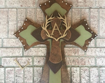 Extra Extra Large Antlers Wood Cross, Brown and Sage Green Wood Cross, Personalized Wall Cross