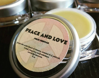 PEACE AND LOVE Solid Perfume- handmade solid perfume with patchouli, frankincense, ylang-ylang, and orange.