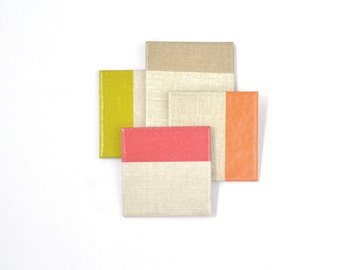 Color Block Coasters Modern Colors on Natural Linen Background Ceramic Tile Coasters Hostess Gift Drink Coasters