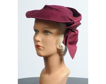 1930s hat/ 30s wool tilt hat/ plum wool