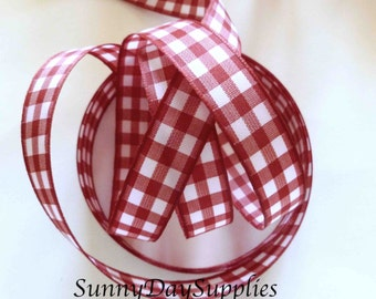 Red and White Checked Ribbon, Gingham Red Ribbon, Gift wrapping,  5/8 in. wide, 5 YARDS, Hair bows, Christmas, checked trim, stripes ribbon