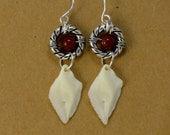 Carnelian and Silver Ring Gar Scale Earrings