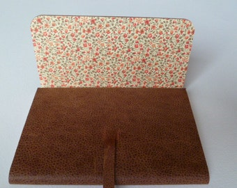 Leather Journal Leather Notebook Travel Journal Speckled Brown Leather. Lined with a Beautiful Floral Paper.